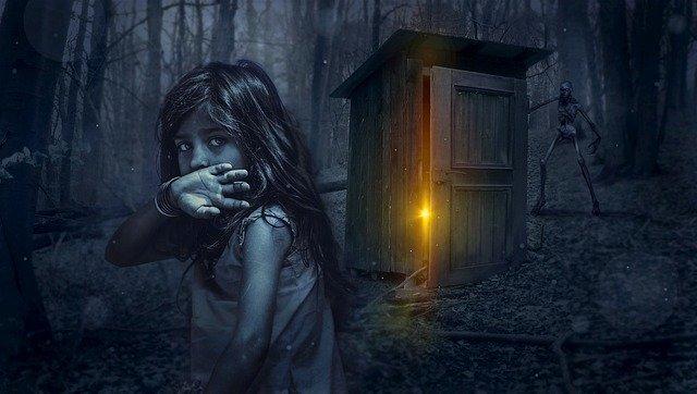 temný obrázek dívky